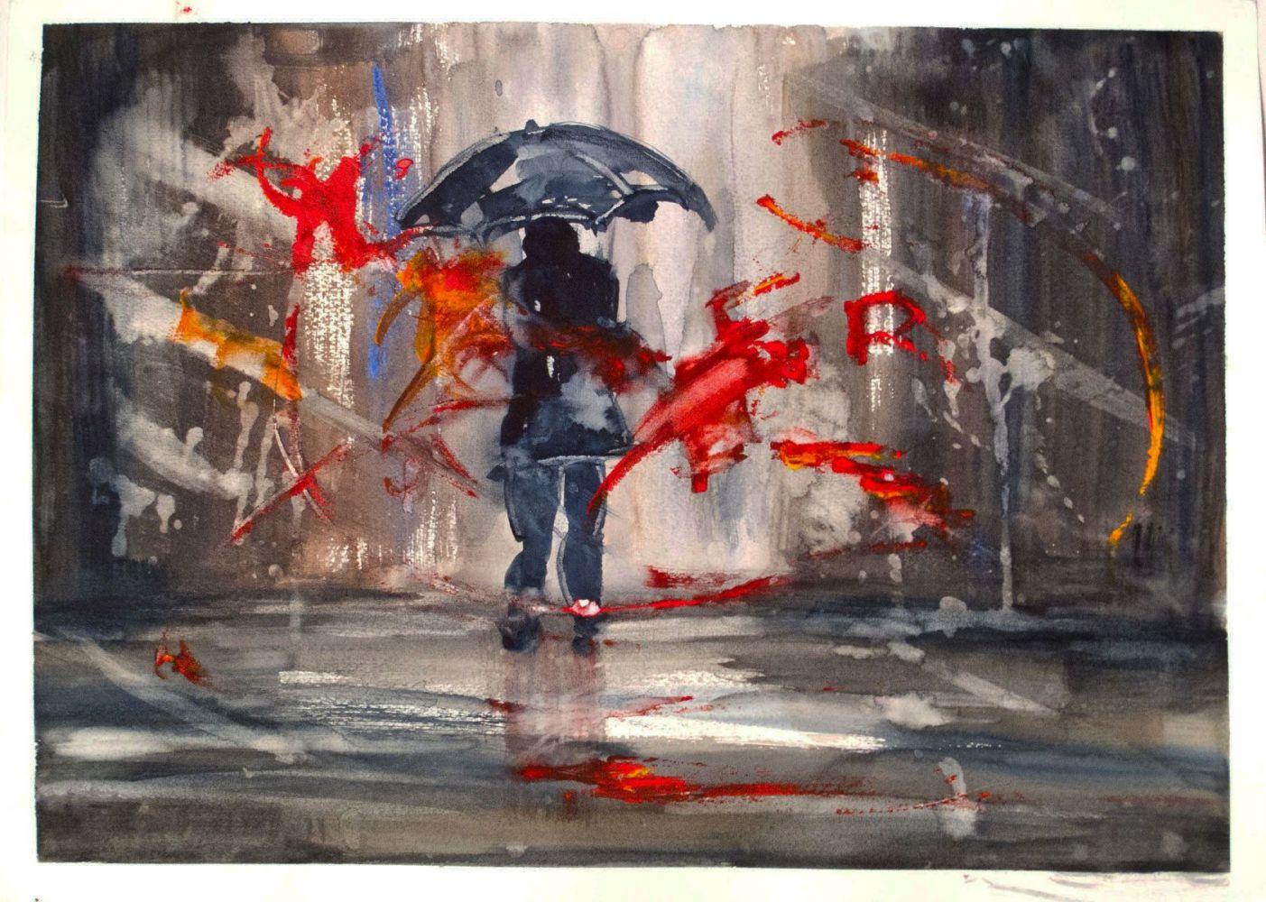 La pioggia vista dalla vetrina ( acquarello ) Opera pubblicata sul Calendario dell'Arte 2018 (vedi su questo stesso sito - Attività - Calendario)