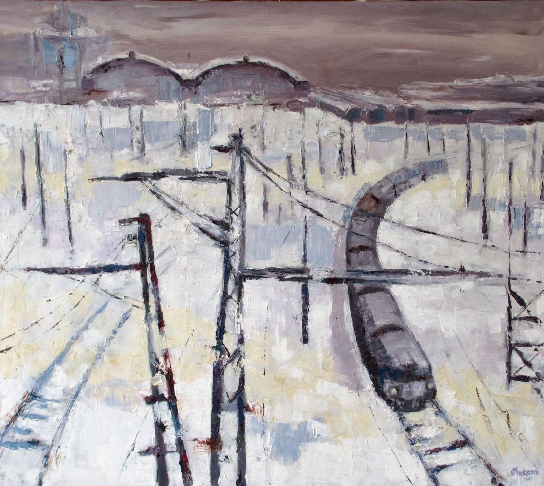 Neve sui binari  ( olio su tela 90x100  )