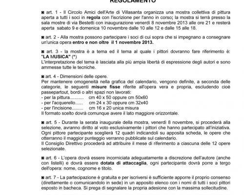 Calendario CAA 2014 - Regolamento