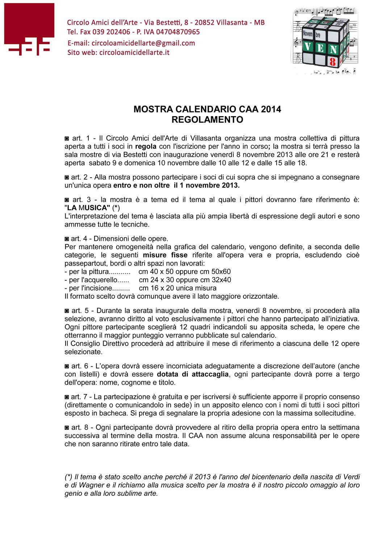 Calendario Anno 2014.Calendario Caa 2014 Regolamento Circolo Amici Dell Arte